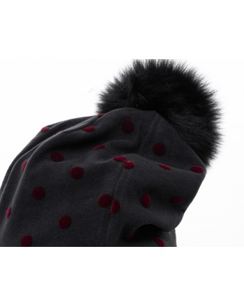 GALLO - Cappello a Pois con Pom Pom - Nero/Bordeaux