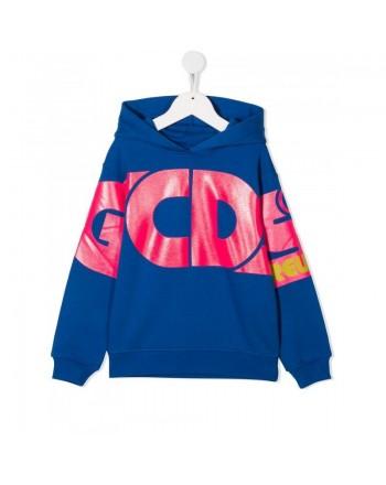 GCDS Mini -  Hood Fleece With Logo - Royal