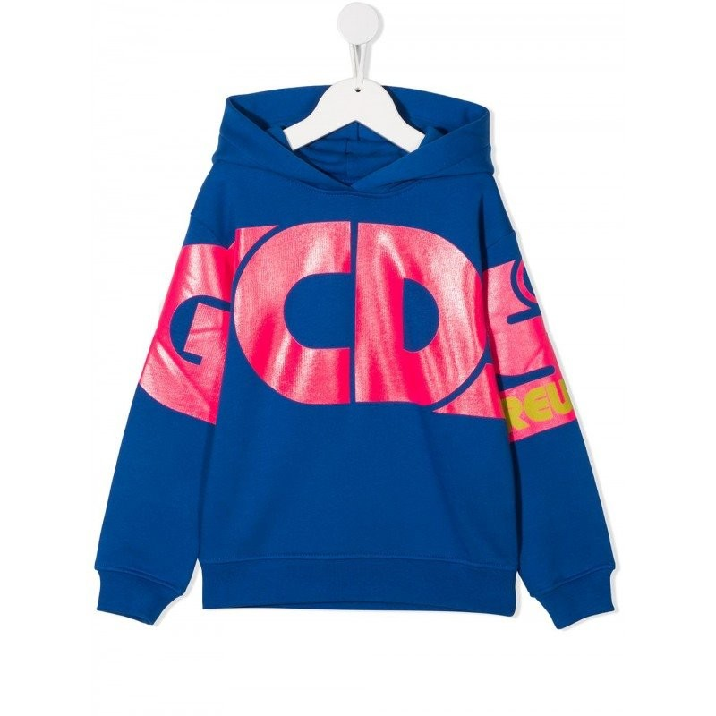 GCDS Mini -  Felpa con Cappuccio e Logo - Royal