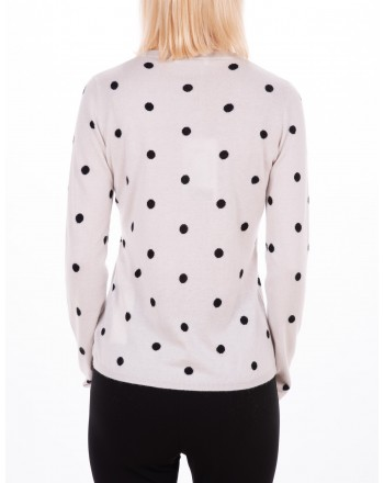 MAX MARA - Silk and cashmere Sweater with polka dot - Ice white