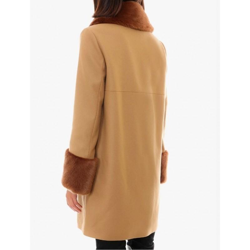 FAY-  Hook and Faux Fur Details Coat- Camel