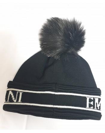 EMPORIO ARMANI - Cappello in Lana con Logo e Pon Pon  - Nero