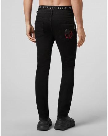 PHILIPP PLEIN - SUPER STRAIGHT CUT HEXAGON Trousers - Black