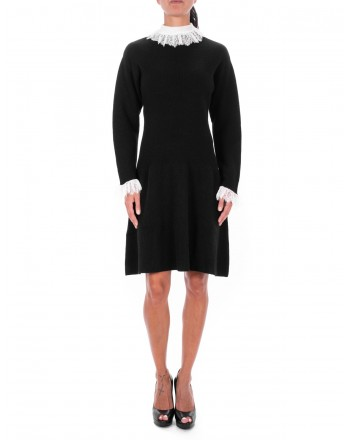 PHILOSOPHY di LORENZO SERAFINI  - Wool Dress with thin Lace details - Black