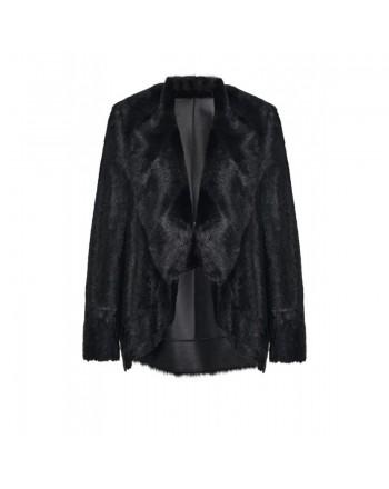 PINKO - Faux Fur  ODDONE Jacket - Black