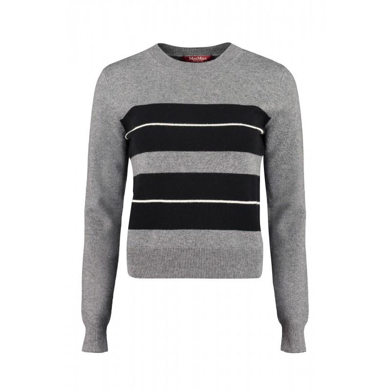 MAX MARA STUDIO  -  Wool and Cashmere Knit POPOLI -Medium Grey/Stripes