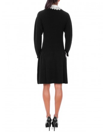 PHILOSOPHY di LORENZO SERAFINI  - Wool Dress with thin Lace details - Black