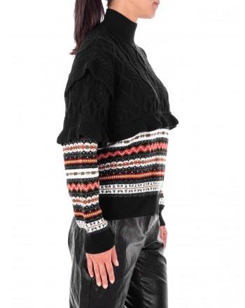 PHILOSOPHY di LORENZO SERAFINI  - Wool Turtleneck Knit - Black/ Multicolor