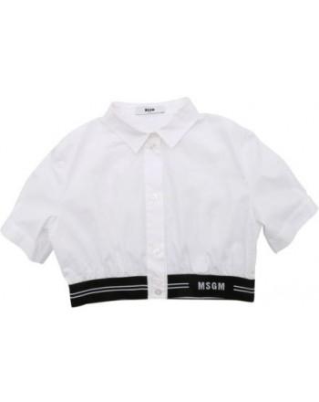 Msgm Baby - Camicia Crop Con Logo - Bianco