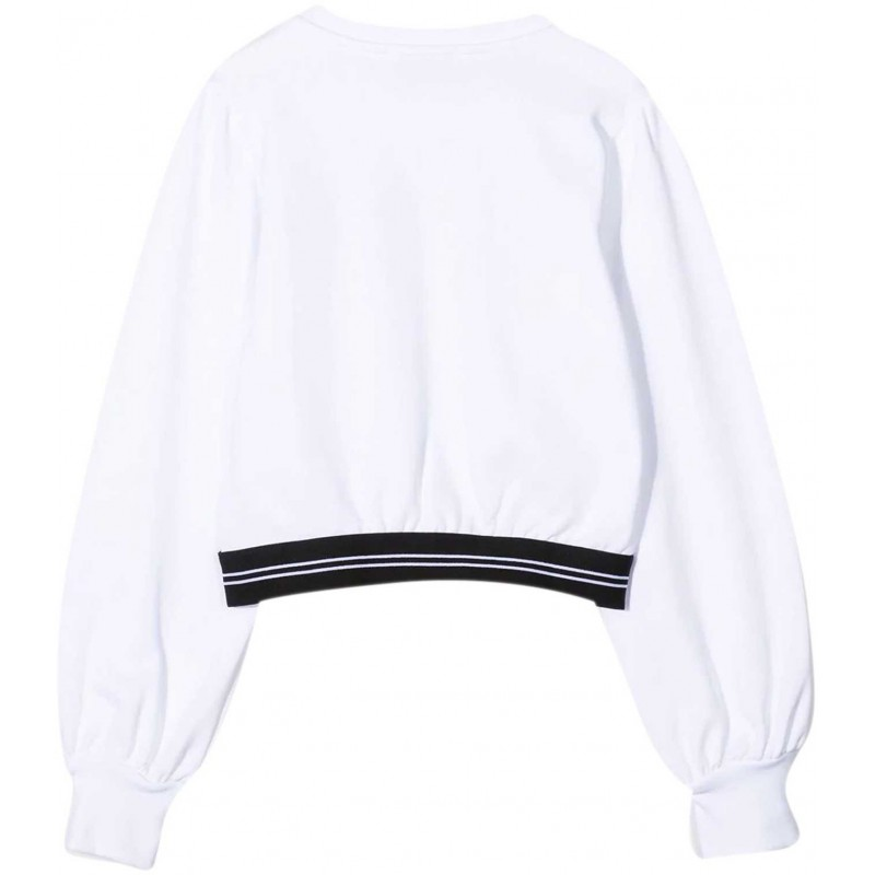 Msgm Baby - Felpa Scollo Rotondo Con Logo - Bianco
