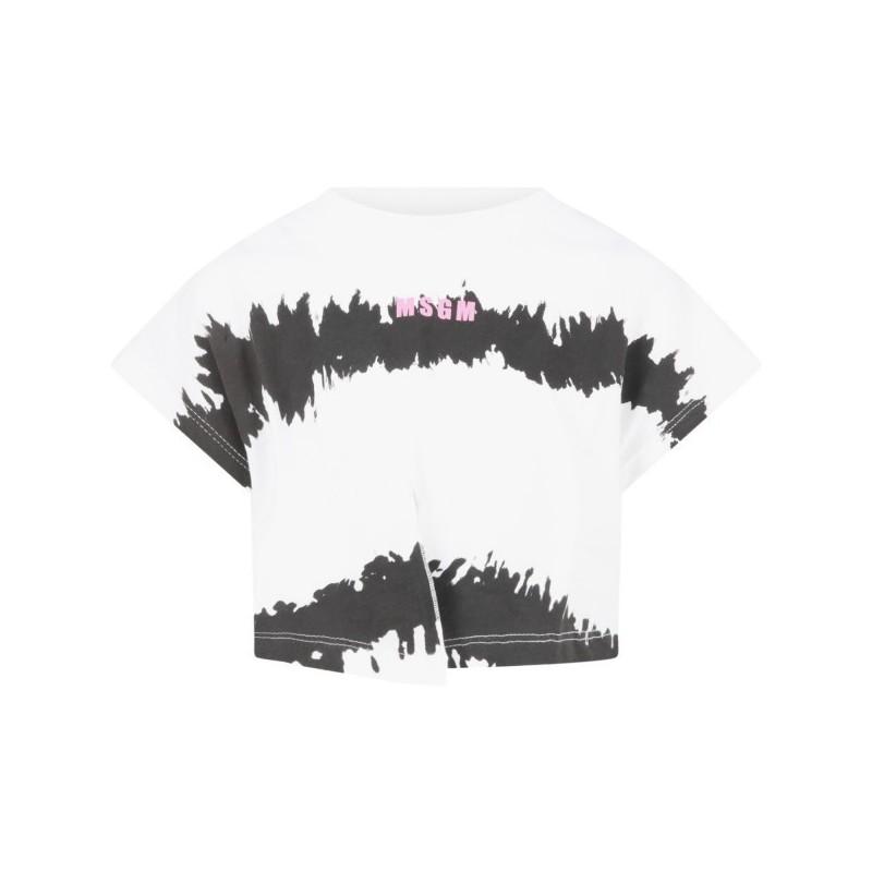 Msgm Baby - T-shirt Con Logo - Bianco