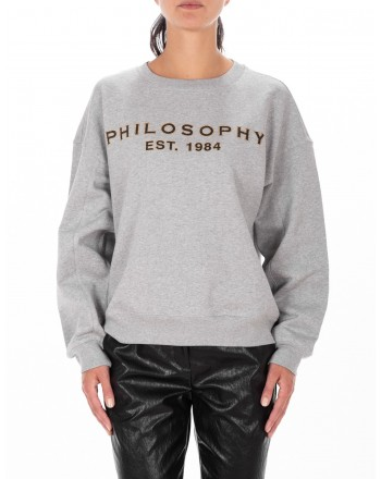 PHILOSOPHY di LORENZO SERAFINI  - Cotton Roundneck Sweatshirt - Grey