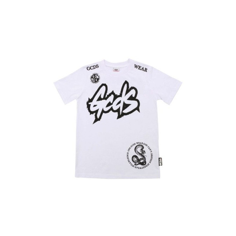 Gcds Mini - T-shirt Con Stampa - Bianco