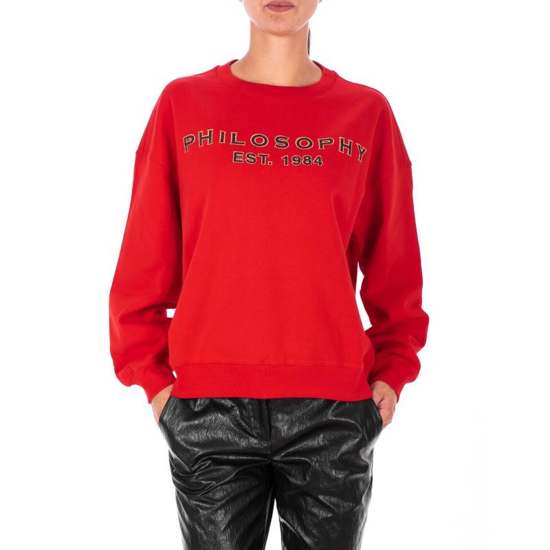 PHILOSOPHY di LORENZO SERAFINI  - Cotton Roundneck Sweatshirt - Red