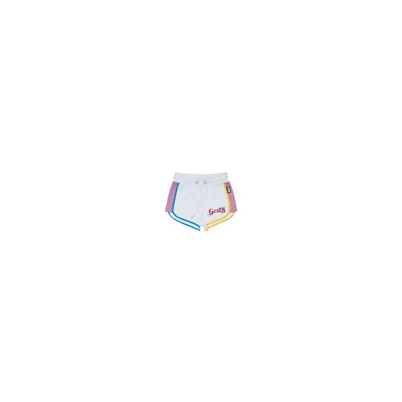 Gcds Mini - Shorts Con Design Color-block - Bianco