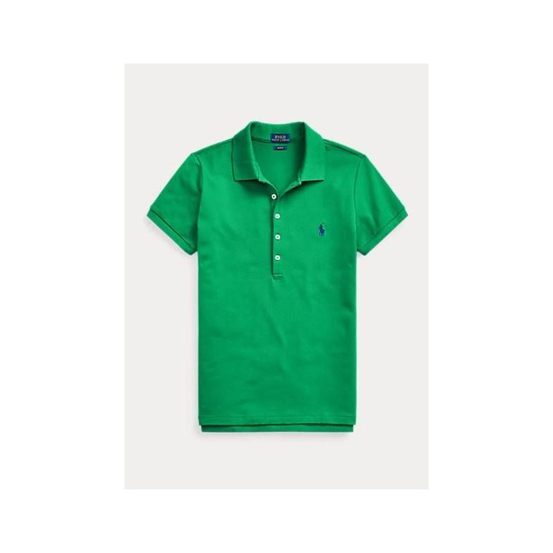 POLO RALPH LAUREN  - Basic 5-Button Polo Shirt - Green  -