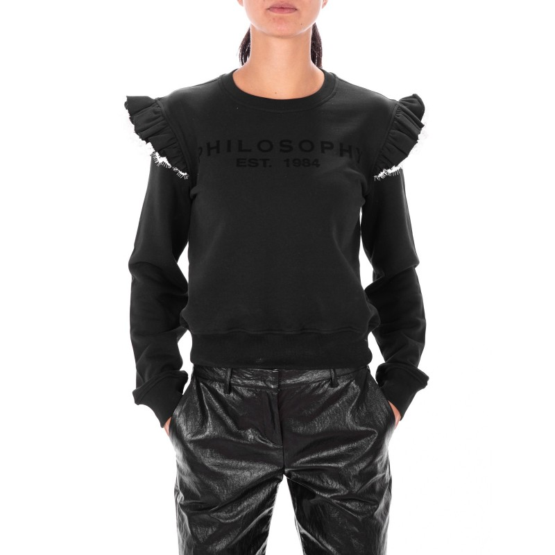 PHILOSOPHY di LORENZO SERAFINI - Cotton Shirt with Lace wings - Black