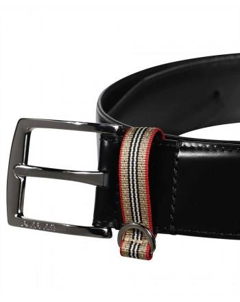 BURBERRY- Cintura in pelle con dettaglio righe - Nero
