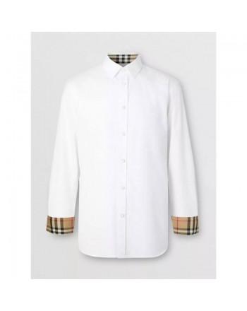 BURBERRY - Oxford cotton shirt with monogram - White