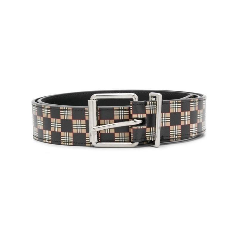 BURBERRY - Printed leather belt - Beige / Black