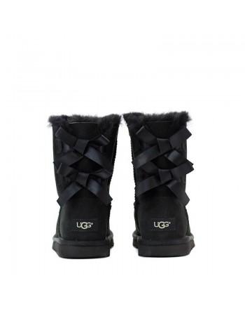UGG BABY -  Suede BAILEY BOW II Boots - BLACK