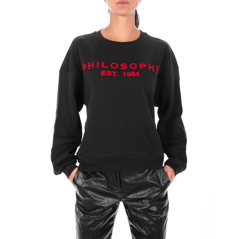 6213cafbeba9 PHILOSOPHY di LORENZO SERAFINI Felpa girocollo con Logo frontale Nero/Rosso  [Donna] Elsa Boutique