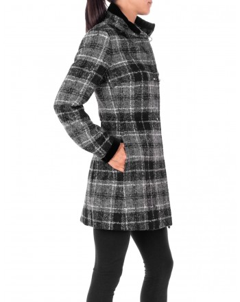 FAY - Cappotto VIRGINIA in Lana a motivo Check  - Check Grigio