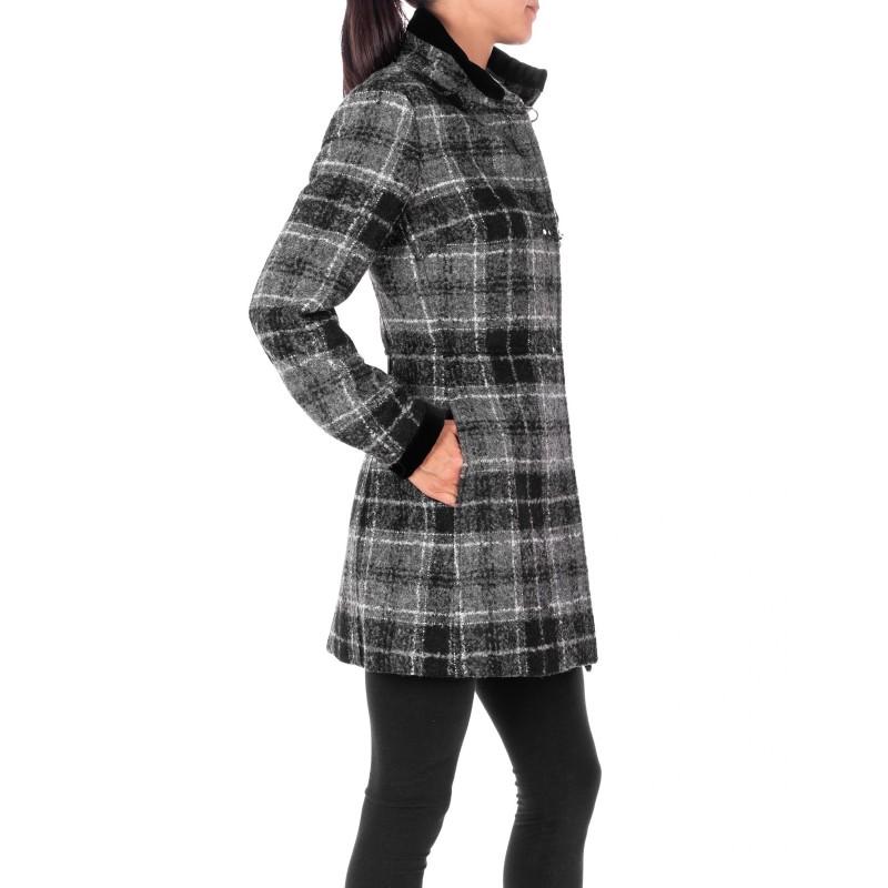 FAY - Wool Check Coat  VIRGINIA  - Check Grey
