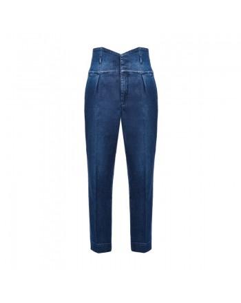 PINKO - High Waist Bustier Jeans- Dark Denim