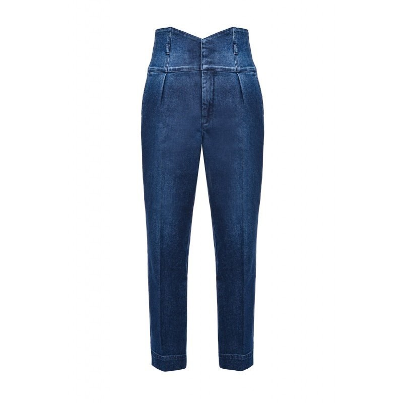 PINKO - Jeans Vita Alta a Bustier ARIEL - Denim Scuro