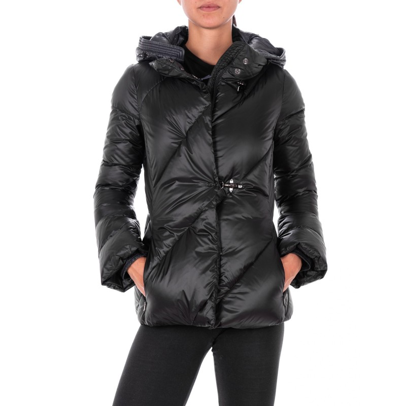 FAY - Short Down Jacket with Frogs- Black/Petrol