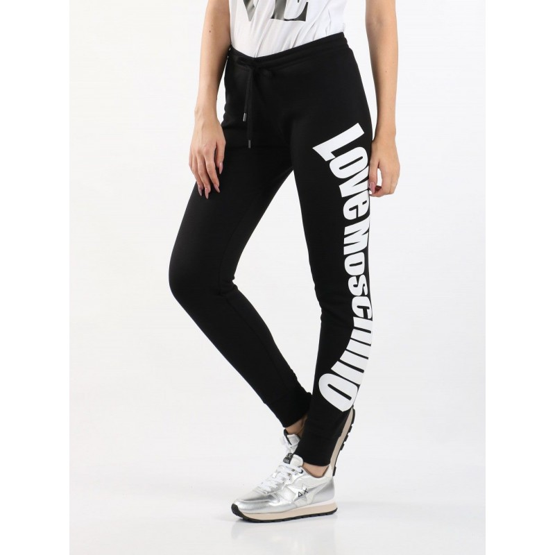 LOVE MOSCHINO - Trousers with logo writing - Black