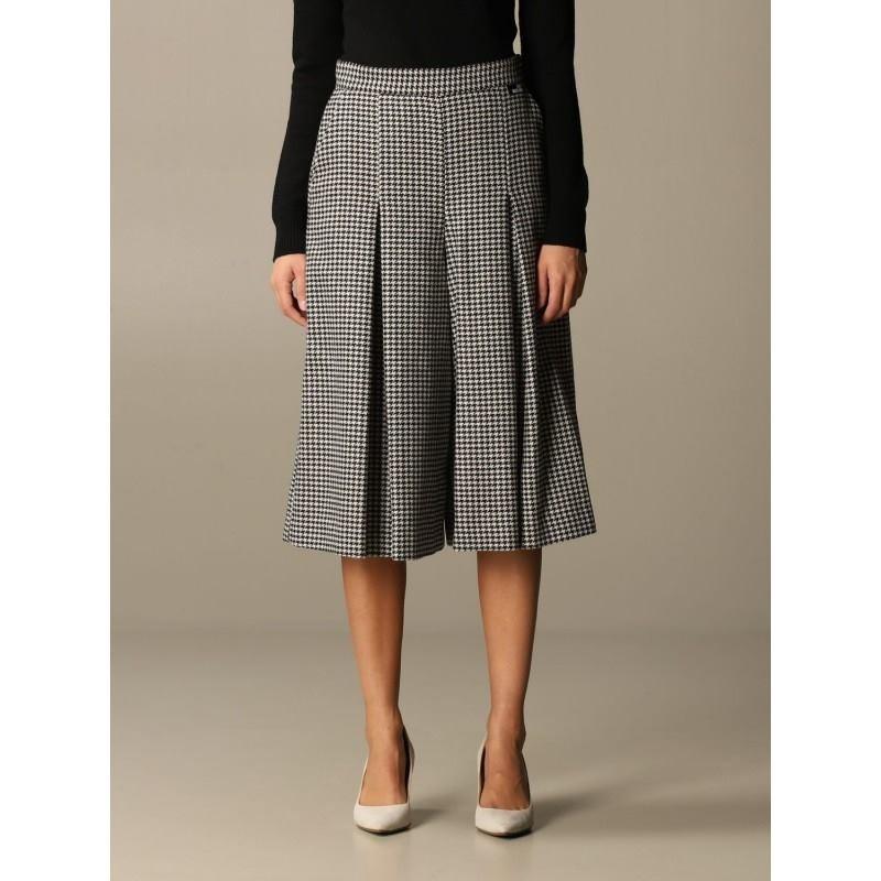 LOVE MOSCHINO - Houndstooth trouser skirt - White / Black