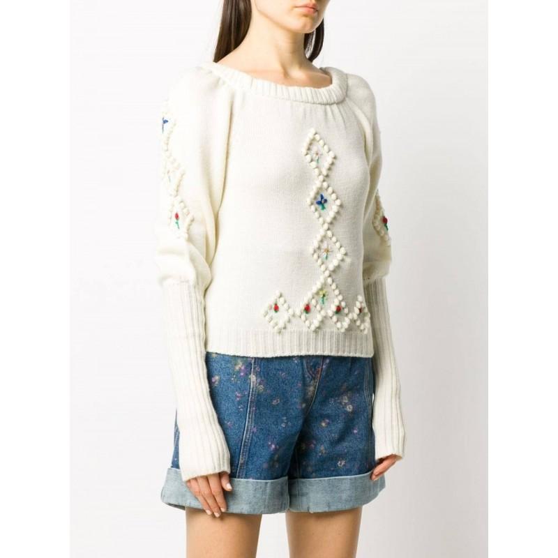 PHILOSOPHY di LORENZO SERAFINI  - Jacquard wool knit - CREAM