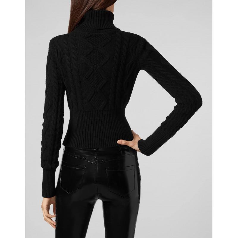 PHILIPP PLEIN - LUCKY CHARM Blended Wool Knit  - Black