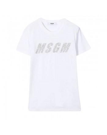 MSGM Baby- T-Shirt Stampa Logo Glitterato - BIANCO