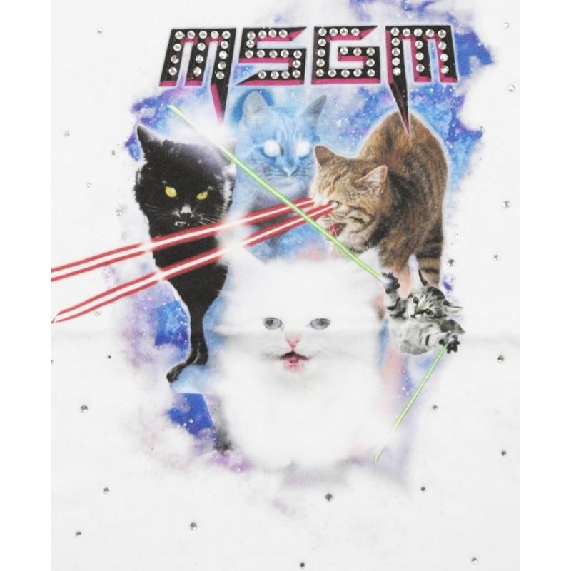 MSGM Baby- Cats print T-Shirt - White