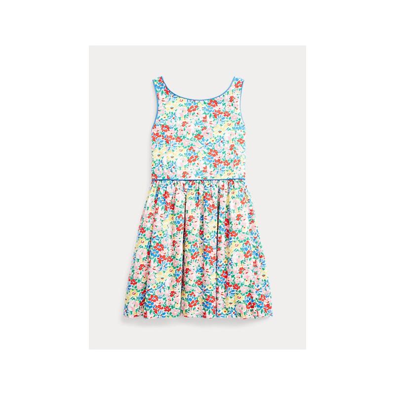 POLO KIDS - Abito in popeline di cotone a fiori -
