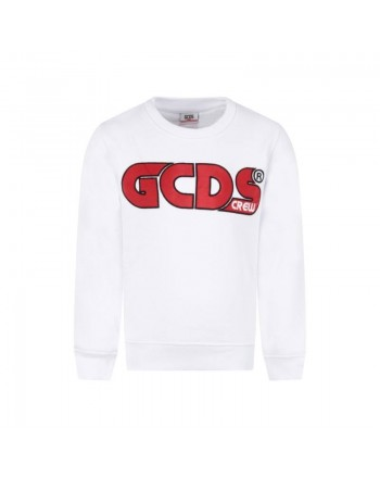 GCDS Mini - Felpa con Logo Ricamato - Bianco