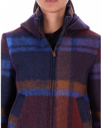 GALLO - Wool Jacked with hood and Check pattern - Carbon paper