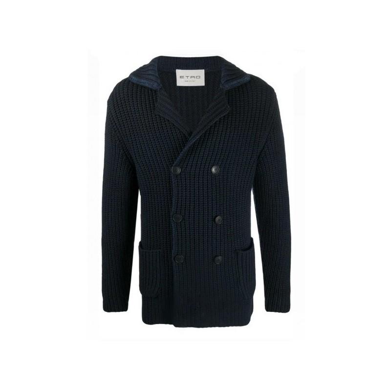 ETRO - Doublebreasted Wool Cardigan - Blue