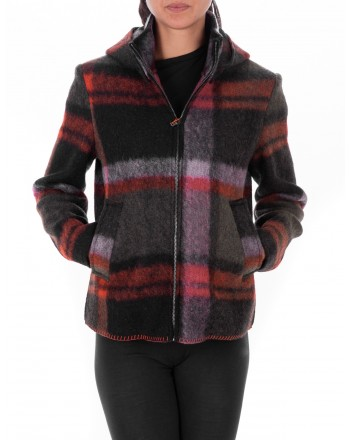 GALLO - Wool Jacked with hood and Check pattern - Mauve