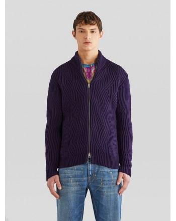 ETRO - Giubbino in lana con zip - BLU