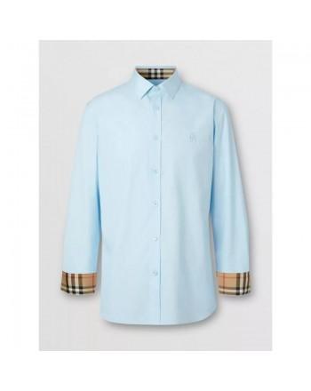 BURBERRY - Oxford cotton shirt with monogram - Blue