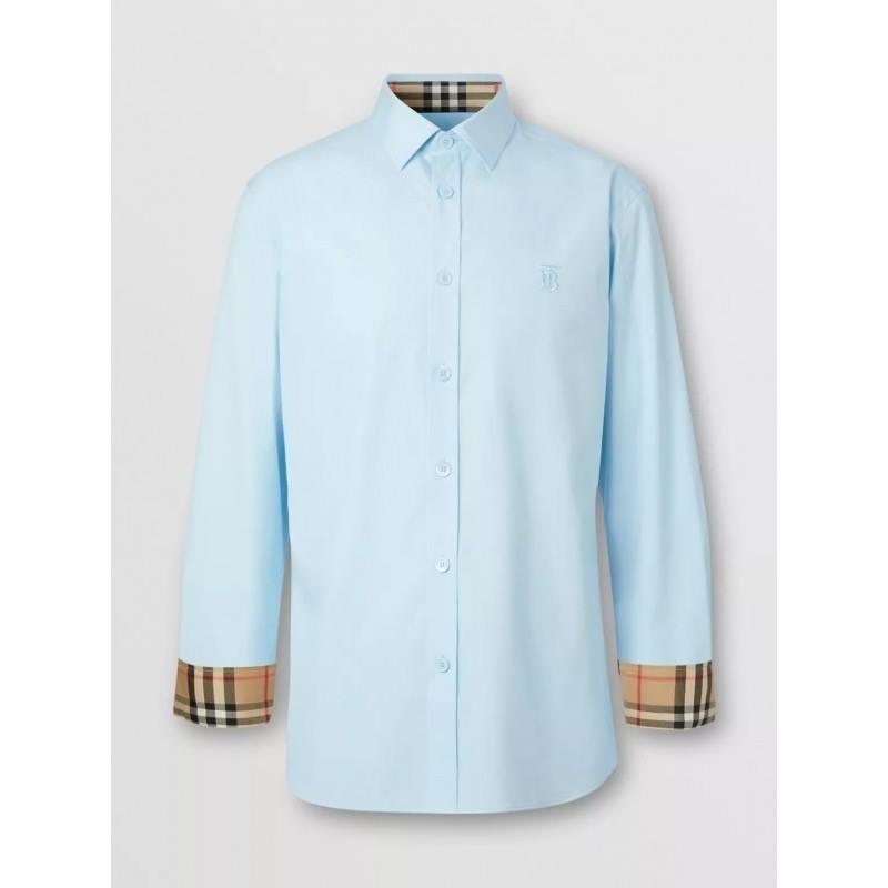 BURBERRY - Camicia Oxford in cotone con monogramma - blu