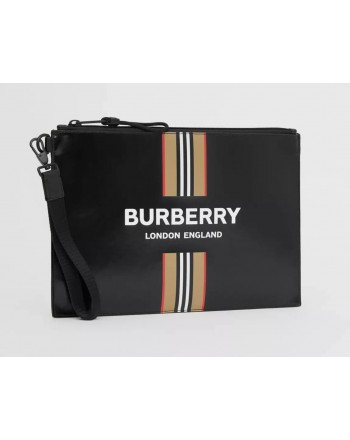 BURBERRY - Clutch bag in coated canvas - Black