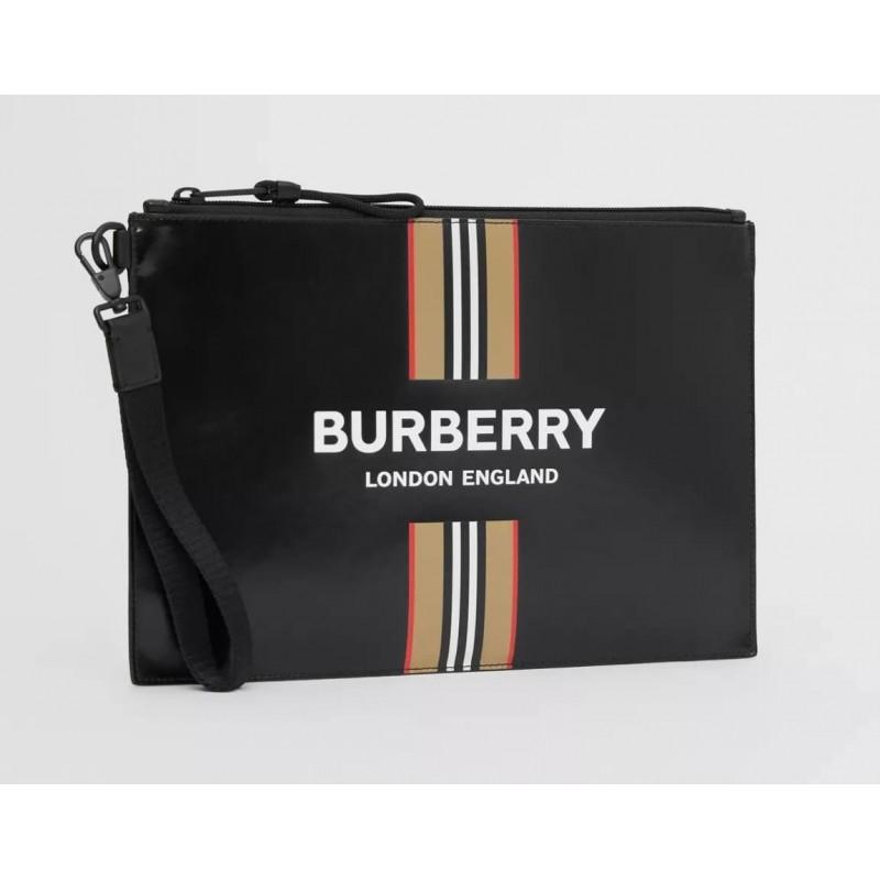 BURBERRY - Pochette in tela splalmata - Nero