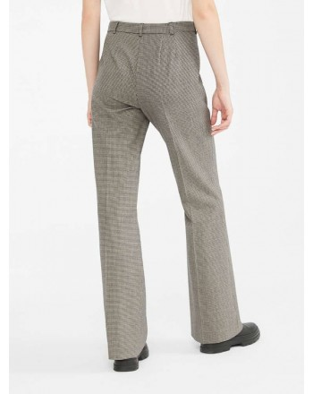 S MAX MARA - ARES Wool Blended Pied de Poule Trousers - Black/Ecru