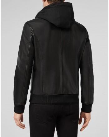 PHILIPP PLEIN - HOODIE Leather Bomber Jacket - Black