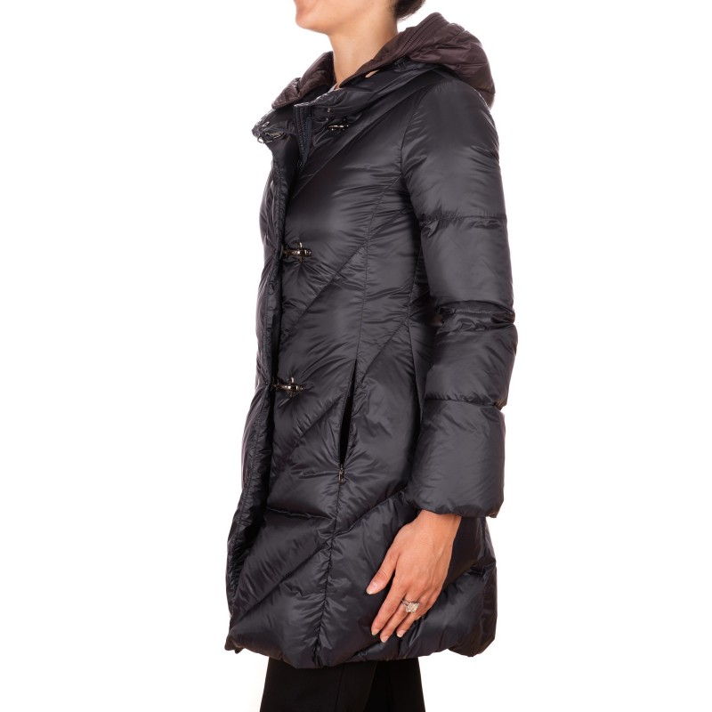 FAY - Hood and Frogs Down Jacket - Black/Teals